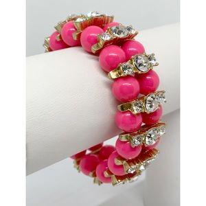 J. Crew Pink & Rhinestones Stretch Bracelet